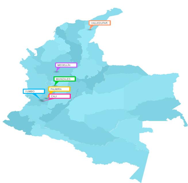 Mapa puntos de venta productos división humana, Nutritec